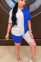 Серо-голубой повседневный полиэстер с короткими рукавами и круглым вырезом