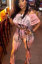 Pink Casual Polyester Tie Dye Utility Blouse Wide Leg Pants Sets AA5006