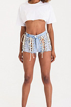 Casual Jeans Eyelet Knotted Strap High Waist Shorts LA3203