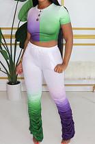 Casual Polyester Short Sleeve Round Neck Ruffle Tee Top Flare Leg Pants Sets LA3207