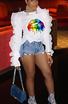 White Casual Polyester Mouth Graphic Long Sleeve Round Neck Flounce Tee Top AA5107