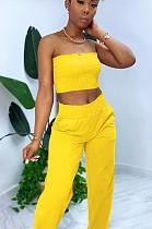 Yellow Casual Polyester Sleeveless Ruffle Bandeau Bra Long Pants Sets BLX7518