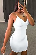 White Casual Polyester Sleeveless V Neck Ruffle Slip Dress HY5165