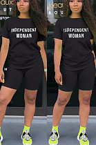 Black Casual Polyester Letter Short Sleeve Round Neck Tee Top Shorts Sets W8293