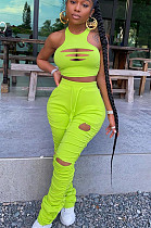 Fluorescent Green Casual Polyester Sleeveless Round Neck Knotted Strap Ripped Ruffle Tank Top Long Pants Sets W8289
