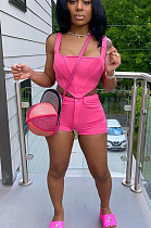 Rose Red Sexy Polyester Sleeveless Zip Back Tank Top Shorts Sets HY5150