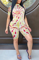 Casual Linen Short Sleeve Round Neck All Over Print Tee Top Shorts Sets JLX2078