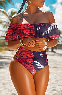 Sexy Polyester Cartoon Graphic Flounce one piece Swimwear H1358