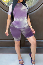 Casual Spandex Tie Dye Short Sleeve Round Neck Tee Top Shorts Sets JLX2081