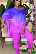 Blue Purple Casual Polyester Long Sleeve V Neck Split Hem Tee Top Long Pants Sets TY1853