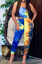 Casual Cotton Tie Dye Sleeveless Strapless Tube Jumpsuit H1383