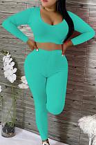 Sexy Cotton Pure Color Article Pit Scoop Neck Crop Top High Waist Long Pants Sets OEP6203