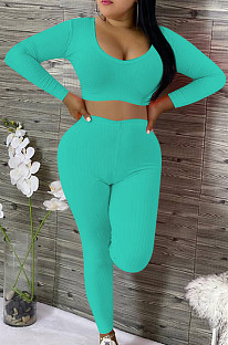 Sexy Cotton Pure Color Article Pit Scoop Neck Crop Top High Waist Long Pants Sets OEP6203