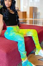 Yellow Casual Polyester Ruffle Long Pants YT3232