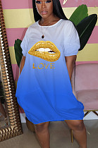 Blue Casual Polyester Mouth Graphic Short Sleeve Round Neck Shift Dress LY5853
