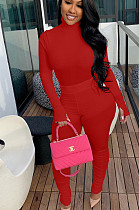 Red Casual Polyester Long Sleeve High Neck Ruffle Utility Blouse Long Pants Sets YX9226