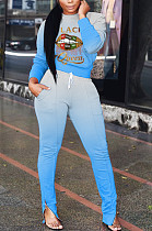 Sporty Polyester Letter Mouth Graphic Long Sleeve Round Neck Longline Top Long Pants Sets ARM8200