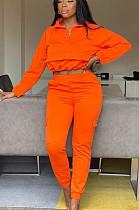 Orange Casual Cotton Long Sleeve Utility Blouse Long Pants Sets TY1859