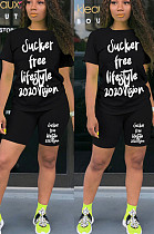 Black Casual Polyester Letter Short Sleeve Round Neck Tee Top Shorts Sets TY1845