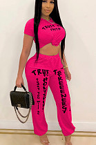 Rose Red Casual Polyester Letter Short Sleeve Round Neck Tee Top Long Pants Sets TY1835