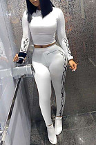 Pure Color Casual Polyester Long Sleeve Round Neck Longline Top Long Pants Sets QQ5199