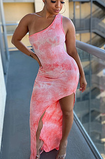 Pink Sexy Polyester Tie Dye Sleeveless Split Hem High Waist Long Dress SH7199