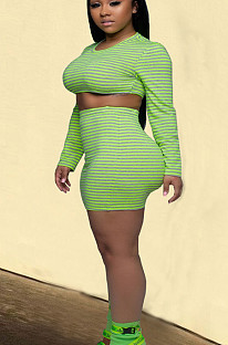 Green Casual Polyester Striped Long Sleeve Round Neck Crop Top Above Knee / Short Skirt Sets YSH6157