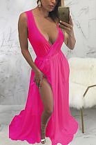 Rose Red Sexy Polyester Sleeveless V Neck Waist Tie Mid Waist Long Dress SMR9593