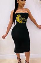 Black Sexy Polyester Floral Sleeveless Halterneck Split Hem High Waist Tube Dress SH7193