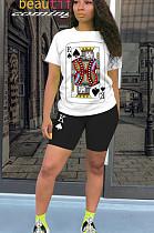 黒のカジュアルポリエステル半袖ラウンドネックTシャツトップショーツセットQQM4056