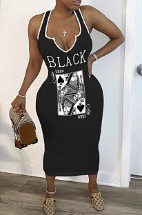 Black Sexy Polyester Letter Sleeveless V Neck High Waist Tank Dress SH7194
