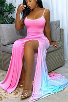 Rose Sexy Polyester sans manches col carré bretelles spaghetti dos ouvert ourlet fendu taille haute robe longue SH7201