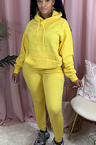 Yellow Casual Polyester Long Sleeve Hoodie Long Pants Sets AL116