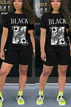 Black Casual Polyester Letter Short Sleeve Round Neck Tee Top Shorts Sets YSH6153