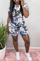 Casual Polyester Tie Dye Letter Short Sleeve Round Neck Tee Top Shorts Sets S6228