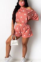 ピンクのカジュアルポリエステル半袖TシャツトップショーツセットYY5193