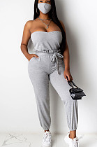 Grey Sexy Polyester Sleeveless Waist Tie Bandeau Bra Long Pants Sets (with mask)YY5198