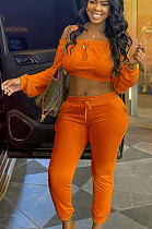 Orange Casual Polyester Long Sleeve Knotted Strap Utility Blouse Long Pants Sets AL112