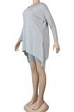 Grey Casual Polyester Short Sleeve Utility Blouse Shorts Sets K2012