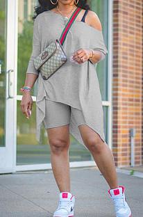 Ensembles de shorts chemisier utilitaire à manches courtes en polyester gris