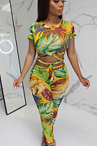 Yellow Casual Polyester Short Sleeve Round Neck Self Belted Utility Blouse Long Pants Sets MDF5087