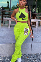 Fluorescent Green Casual Polyester Sleeveless Round Neck Waist Tie Ruffle Tank Top Long Pants Sets YSH6152