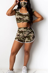 Army Green Casual Polyester Camo Short Sleeve Round Neck Tee Top Shorts Sets YY5197