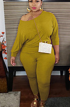 Yellow Casual Polyester Long Sleeve Round Neck Tee Top Long Pants Sets K8918