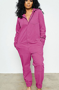 Purple Red Casual Cotton Long Sleeve Buttoned Tee Jumpsuit AL110