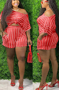 Watermelon Red Casual Polyester Striped Short Sleeve Utility Blouse Shorts Sets TZ1131