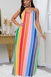 Casual Polyester Rainbow Stripe Sleeveless Mid Waist Long Dress TZ1130