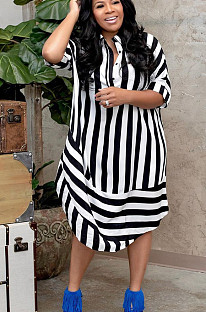 Black Casual Polyester Striped Short Sleeve Lapel Neck Buttoned Shirt Dress BS1221