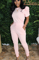 Pink Casual Polyester Short Sleeve Round Neck Tee Top Long Pants Sets N9219