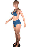 Blue Sexy Polyester Sleeveless Halterneck Self Belted Utility Blouse Shorts Sets BS1214